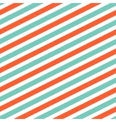 Diagonal red and mint line pattern vector