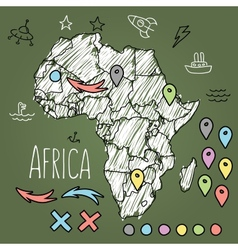 Doodle Africa map on green chalkboard with pins vector image