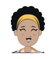 Face young afro girl smiling expression vector