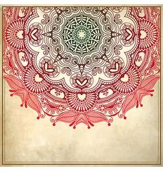 flower circle design on grunge background vector image