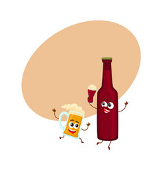 Funny smiling beer bottle and mug characters vector