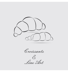 Greyscale icons of croissants vector