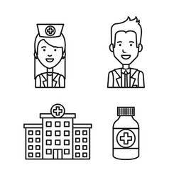 Medical staff profession pharmacy and hospital vector