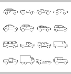 Outline car collection icon vector image vector image