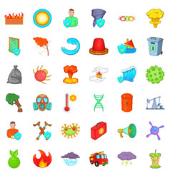 Quiet place icons set cartoon style vector