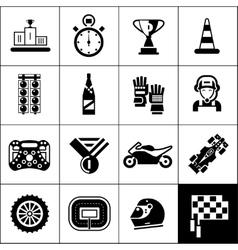 Racing icons black vector