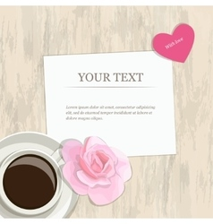 Romantic vintage banner heart rose and coffee vector