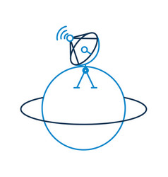 saturn planet with satellite dish trasnmission vector image