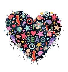 Sea life heart vector