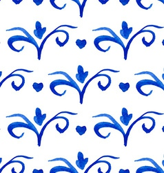 Seamless pattern with Dutch ornaments Deflt blue vector image vector image