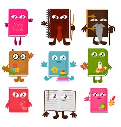 set of funny book characters vector image vector image