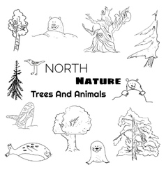 Set of north nature doodle animals and trees vector image vector image