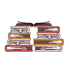 silhouette color sections of stack of books with vector image vector image