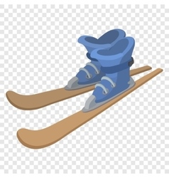 Ski boots and skis cartoon vector
