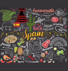Spain hand drawn sketch set chalkboard vector