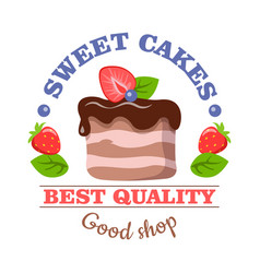 Sweet cakes best quality good shop logo vector