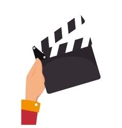 Hand holding a clapboard vector