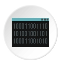 Binary code on screen icon flat style vector