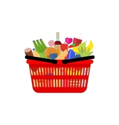 Market shopping basket full food and drink vector