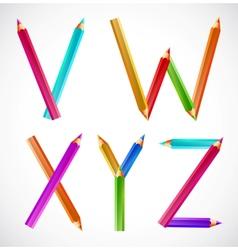 Colorful alphabet of pencils V W X Y Z vector image