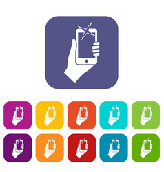 hand photographed on mobile phone icons set vector image