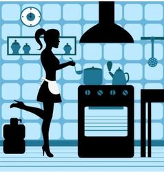 Woman cooking in the kitchen vector