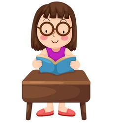 A girl reading book isolated on wh vector