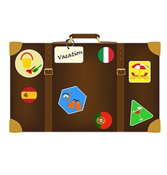 Travel bag with stickers vector image