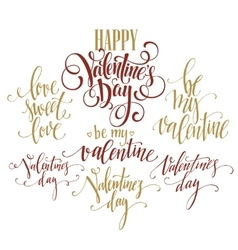 Valentine day and love lettering collection vector
