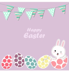 Happy easter bunny and eggs vector