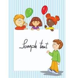 Kids holding a white banner vector