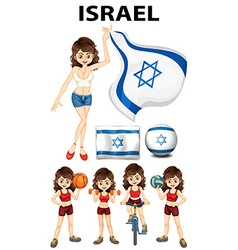 Israel flag and woman athlete vector