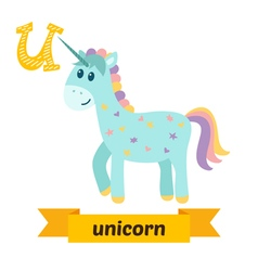 Unicorn u letter cute children animal alphabet in vector