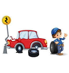 A mechanic near the car accident area vector image vector image