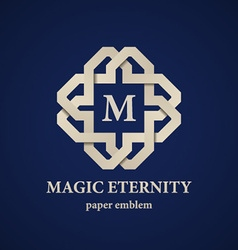 Abstract magic eternity paper letter emblem vector