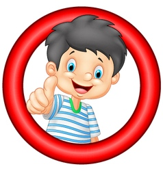 Cartoon little boy giving thumb up vector