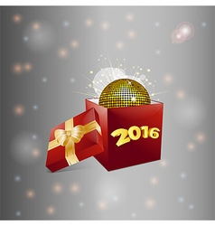 Christmas gift box and disco ball background vector image vector image