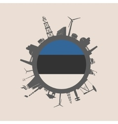 Circle with industrial silhouettes estonia flag vector