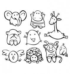 cute baby animals vector image vector image