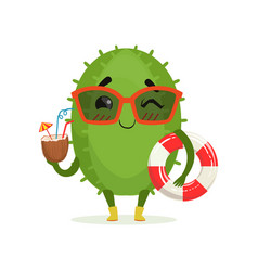 cute cactus in sunglasses holding lifebuoy and vector image vector image
