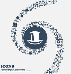 Cylinder hat icon sign in the center around the vector