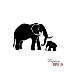 Elephant and baby elephant The black silhouette vector image
