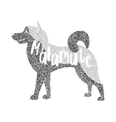 Form of round particles alaskan malamute dog vector image