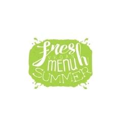Fresh Summer Menu Calligraphic Cafe Board vector image vector image