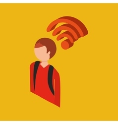 Global connection wifi digital man vector