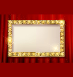 Golden frame on the background of the curtain vector