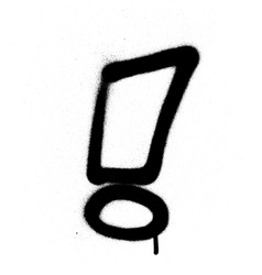 graffiti exclamation mark in black on white vector image