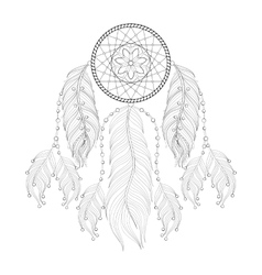 Hand drawn zentangle dream catcher with mehendi vector