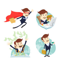 happy businessman throwing moneyflying eating vector image vector image
