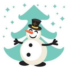 Happy snowman cartoon icon vector image